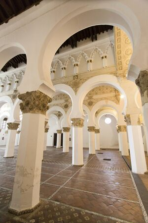 sephardi: View of the interior of the Synagogue Santa Maria la Blanca in Toledo Spain