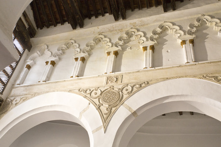 sephardi: View of the ceiling supporting structure of the Synagogue Santa Maria la Blanca in Toledo Spain