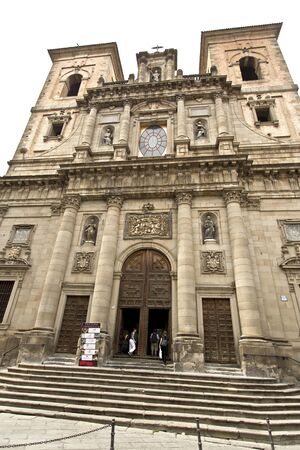 corinthian: The facade of the Church of San Ildefonso with its large window and enormous Corinthian columns, in Toledo Spain Stock Photo