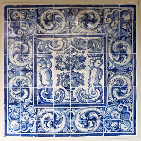 santa cruz: 18th century Panel of Portuguese Tiles in the Museum of Santa Cruz, Toledo, Spain Editorial