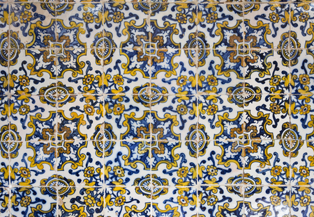 17th century: Detail of a 17th century polychrome Panel of Portuguese Tiles in the Museum of Santa Cruz, Toledo, Spain Editorial