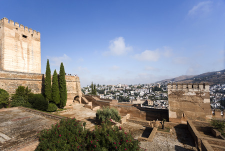 homage: The Homage and Hens Towers with a view of the Albaicin district in the background, in The Alhambra, Granada, Spain