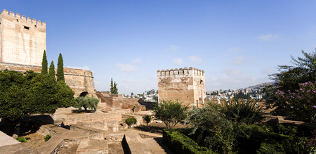 of homage: View of the Homage left and Hens right Towers in The Alhambra, Granada, Spain Editorial