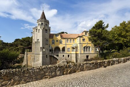 conde: The Palace of Conde de Castro Guimaraes, also known as the Tower of Saint Sebastien, in Cascais, Portugal