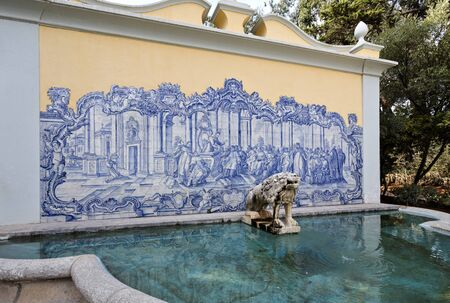 conde: Fountain and Portuguese tiles panel in the gardens of the Palace of Conde de Castro Guimaraes, also known as the Tower of Saint Sebastien, in Cascais, Portugal