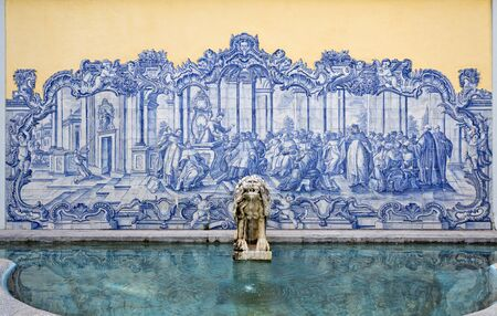guimaraes: Fountain and Portuguese tiles panel in the gardens of the Palace of Conde de Castro Guimaraes, also known as the Tower of Saint Sebastien, in Cascais, Portugal