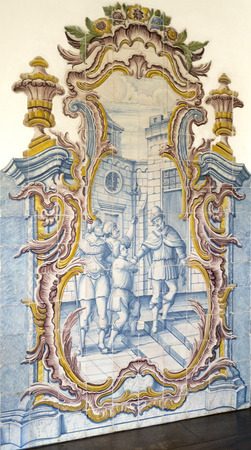 depict: Detail of the rococo style panels of tiles depicting episodes in the life of Joseph of Egypt in the Chapter Room, Monastery of Sao Martinho de Tibaes, Portugal.