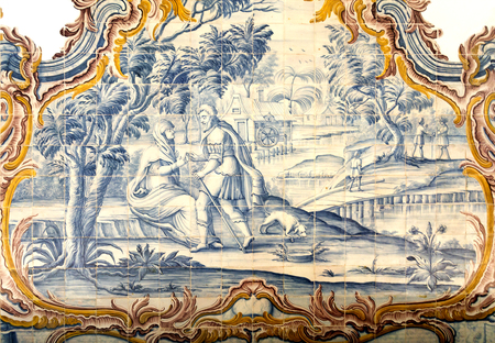 episodes: Detail of the rococo style panels of tiles depicting episodes in the life of Joseph of Egypt in the Chapter Room, Monastery of Sao Martinho de Tibaes, Portugal.