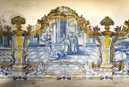 episodes: Tiles depicting the life of patriarch Saint Benedict in the Cemetery Cloister, Monastery of Sao Martinho, in Tibaes, Portugal Editorial