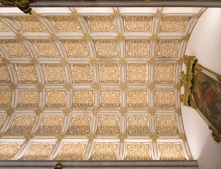 the vaulted: View of the barrel vaulted coffered ceiling of the Sacristy of church at the Monastery of Sao Martinho in Tibaes, Portugal