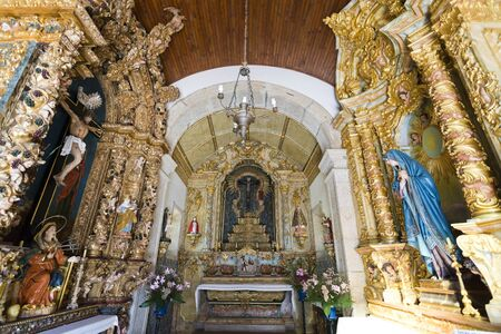 tabernacle: View of the baroque, rococo style, retables inside the Chapel of Senhor da Praca in Rates, Porvoa do Varzim, Portugal