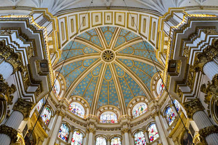 incarnation: View of the dome Of the Cathedral of the Incarnation with its delicate stained glass windows, Granada, Spain