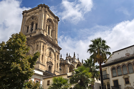 spiritual architecture: View of the bell tower of the Spanish Renaissance Cathedral in Granada, Spain Stock Photo