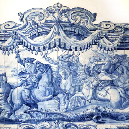 eighteenth: Detail of a tiles panel from the 18th century in Saint Joseph Hospital, Lisbon, Portugal Editorial