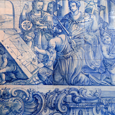 18th: Detail of a tiles panel from the 18th century depicting a mathematics class in Saint Joseph Hospital, Lisbon, Portugal