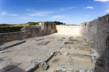 dwellings: View of the dwellings ruins inside the castle of Torres Vedras Stock Photo