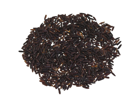 source of iron: Heap of black rice, a range of rice types of the species Oryza sativa L., which is high in nutritional value and is a source of iron, vitamin E, and antioxidants,