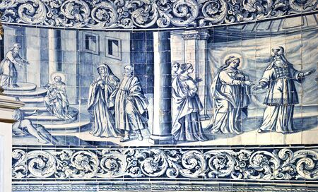 reredos: Detail of the eighteenth century panels of tiles that portray images of the life of the Virgin Mary, in Vila do Conde, Portugal
