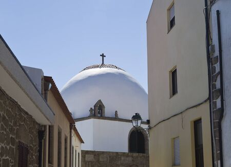 conde: The entrance of the Chapel of Good Help (Capela do Socorro) seen from the adjacent street in Vila do Conde, Portugal
