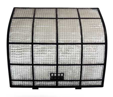 visible: Clogged AirCon filter with a visible thick layer of dust
