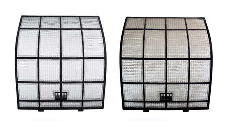 clogged: Pair of Clean and Clogged AirCon Filters