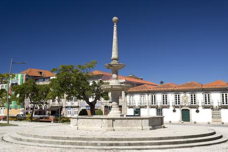 conde: Stone carved water fountain in the heart of the Republic Aquare in Vila do Conde, portugal