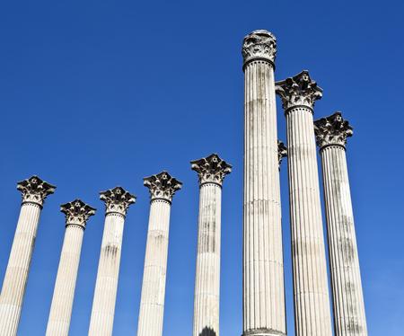 templo romano: Columnas del templo romano orden corintio en C�rdoba, Espa�a