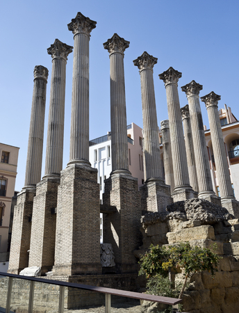 corinthian: Foundations and columns of the Corinthian order roman temple in Cordoba, Spain Stock Photo