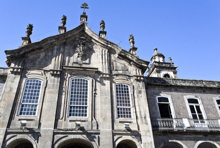 pilaster: Detail of the upper section of the facade of the Lapa Church in Braga, Portugal