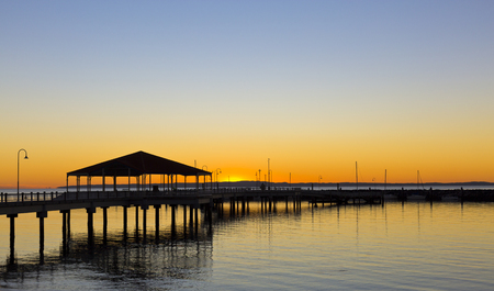 marvellous: Stunning view of the Redcliffe, Australia, jetty at sunrise Stock Photo
