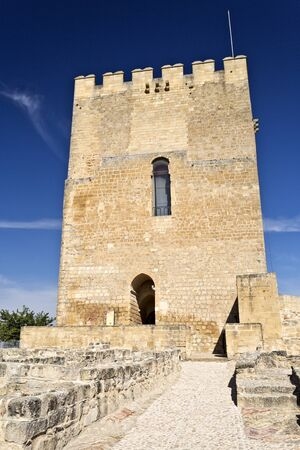 homage: View of the Alcazar tower of homage inside the Fortaleza de La Mota near the town of Alcala la Real, Spain