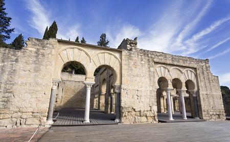 caliphate: Facade of the Upper Basilica Building at Medina Azahara medieval palace-city near Cordoba, Spain