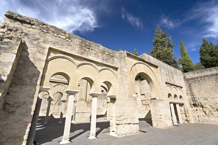 caliphate: Detail of the Upper Basilica Hall at Medina Azahara medieval palace-city near Cordoba, Spain Editorial