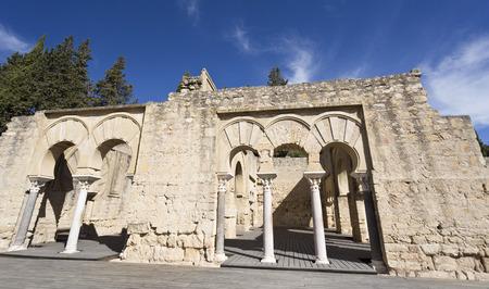 caliphate: Facade of the Upper Basilica Hall at Medina Azahara medieval palace-city near Cordoba, Spain