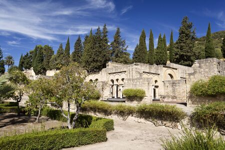 caliphate: View from the gardens to the Upper Basilica Hall at Medina Azahara medieval palace-city near Cordoba, Spain Editorial