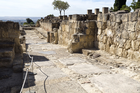 caliphate: Ruins of the ramped street connecting the Great Portico to the Upper Terrace of Medina Azahara near Cordoba, Spain