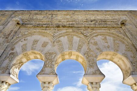 Detail of the facade of the House of Yafar at Medina Azahara medieval palace-city near Cordoba, Spain Editorial