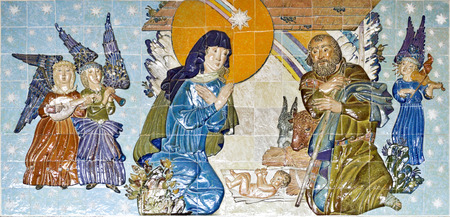 crypt: Tiles panel depicting the Nativity scene in the crypt of the Sanctuary of Sameiro, Braga, Portugal