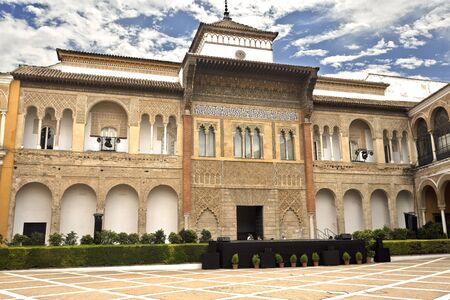 king palace: View of King Peter of Castile Palace from the Patio de la Monteria, Alcazar of Seville, Spain