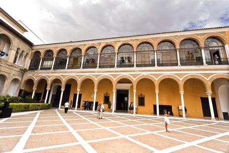 real renaissance: View of the House of Trade (Casa de Contratacion) and the Patio de la Monteria in the Alcazar of Seville, Spain