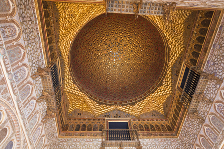hemispherical: The golden dome of the Salon de los Embajadores (Hall of Ambassadors),  Alcazar of Seville, Spain