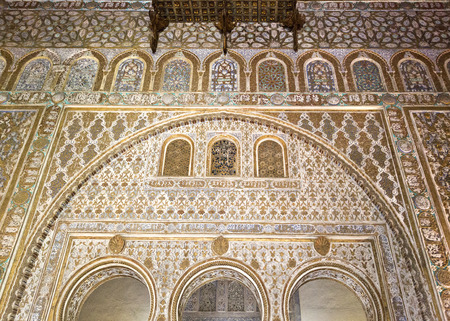 The splendour of the mudejar civil architecture and caliphal art,  Alcazar of Seville, Spain