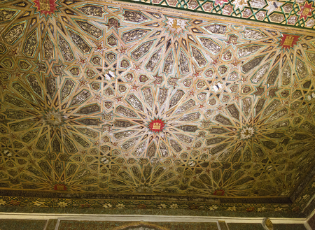 seville: Detail of the ceiling in the Sala de los Infantes, Alcazar of Seville, Spain