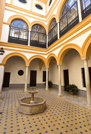 Detail of the interior patio of the House of Trade in the Alcazar of Seville, Spain