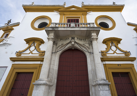 bull rings: View of the main entrance of the Bullfighting Arena in Seville, Spain Stock Photo