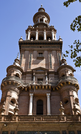 northern spain: Detail of the northern tower of the Plaza de Espana (Spain Square) in Seville, Spain