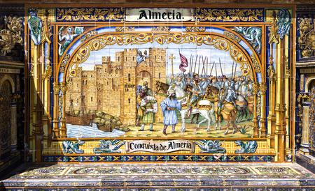 conquest: Detail of the Provincial Alcove of Almeria depicting the conquest of Almeria at Plaza de Espana in Seville, Spain