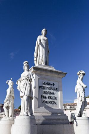 marble palace: Marble statue of Queen Maria I of Portugal at the Palace of Queluz, Lisbon, Portugal