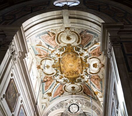 sacrament: Detail of the ceiling of the main chapel at the Baroque Church of the Most Holy Sacrament in Lisbon, Portugal Editorial