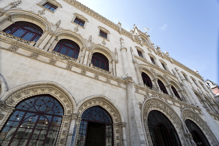 Detail of the Romantic Neo-Manueline facade of the Rossio Railway Station  in Lisbon, Portugal Editorial